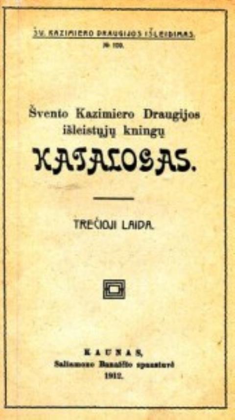 Švento Kazimiero Draugijos išleistųjų kningų katalogas